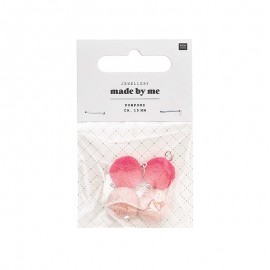 Set de 4 mini pompons ronds 15mm - rose poudré/rose fluo