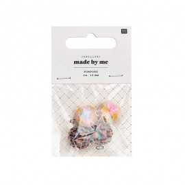 Set de 4 mini pompons ronds 15mm - multicolore