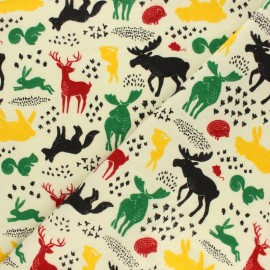 Flannel Fabric - Beige Forest animals x 10cm