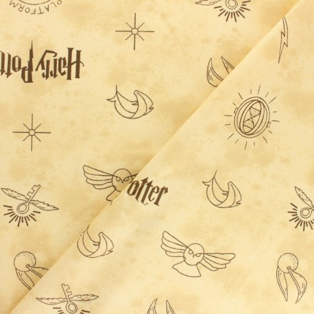 Tissu coton Harry Potter Icones - beige x 10cm