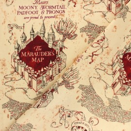 Harry Potter cotton fabric - Beige The Marauder's Map x 10cm