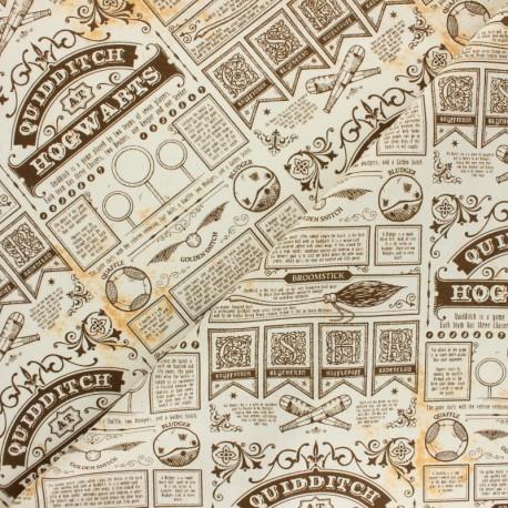 Harry Potter cotton fabric - Beige Quidditch at Hogwarts x 10cm