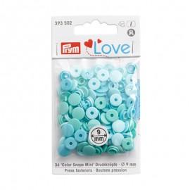36 boutons pressions Color Snaps ronds - mix bleu/vert