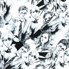 Tissu coton Harry Potter - Scketched characters - blanc x 10cm