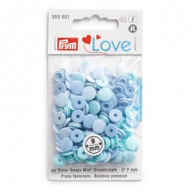 36 boutons pressions Color Snaps Mini ronds - mix bleu