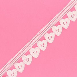 45 mm Guipure Lace - white Hearts x 1m