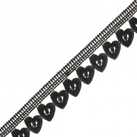 45 mm Guipure Lace - black Hearts x 1m