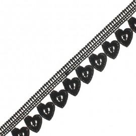 Guipure Hearts 45 mm - Noir x 1m