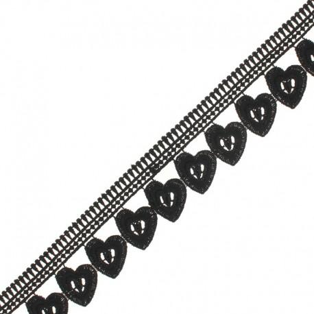 45 mm Guipure Lace - black Hearts x 1m