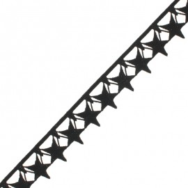 35 mm Guipure Lace - black Stars x 1m