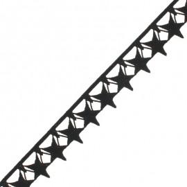 35 mm Guipure Lace - black Stars x 1m