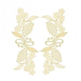 Embroidered applique flower - golden Amélia