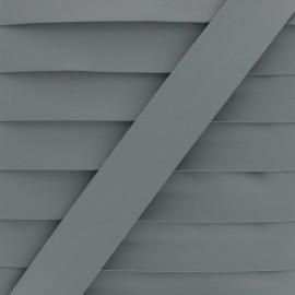 Matte Faux Leather Bias Binding - grey Tilla x 1m