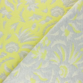 Tissu Walkie Talkie - Jacquard Pampa - gris/jaune x 10cm
