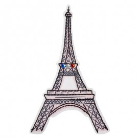 Iron-on rhinestone patch - Tour Eiffel Bonjour Paris
