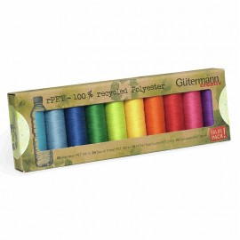 Recycled Polyester Sewing Thread 100m Set (x10) - Rainbow