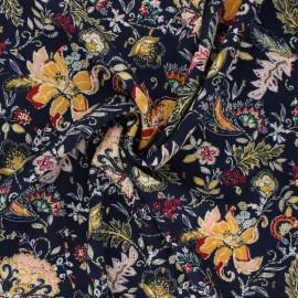 Flowery Viscose fabric - navy blue Bali x 10cm