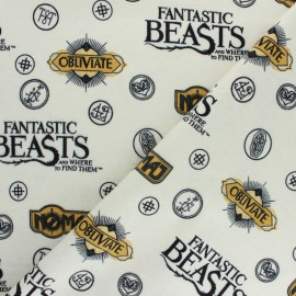 Fantastic Beasts Flannel Fabric - raw x 10cm