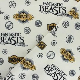 Tissu Flanelle Fantastic Beasts - écru x 10cm