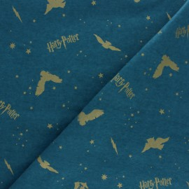 Tissu Flanelle Harry Potter Metallic Icons - bleu x 10cm