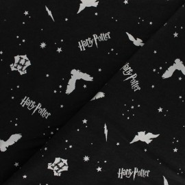 Harry Potter Flannel Fabric - black Metallic Icons  x 10cm