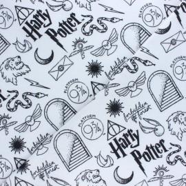 Tissu Flanelle Harry Potter Universe - blanc x 10cm