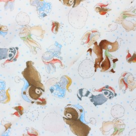 Flannel Fabric - white Playing in the Snow x 10cm