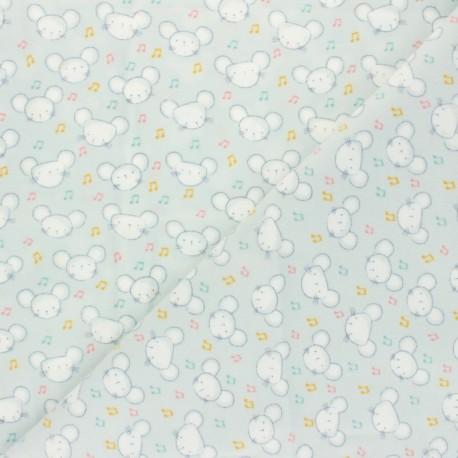 Dear Stella Flannel Fabric - grey Singing Mouse x 10cm
