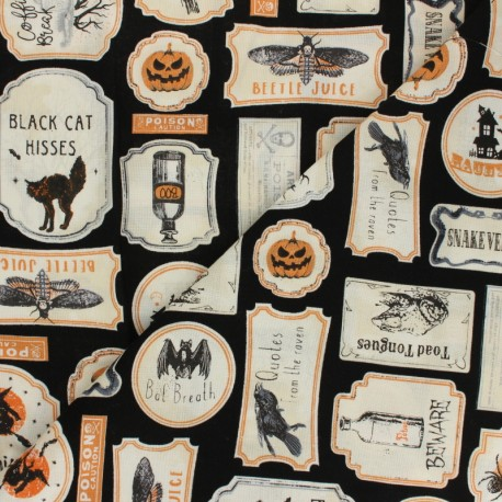 Tissu Coton Timeless Treasures - Antique Halloween Signs x 10cm