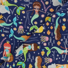 Tissu Coton Timeless Treasures - Swimming Mermaids x 10cm