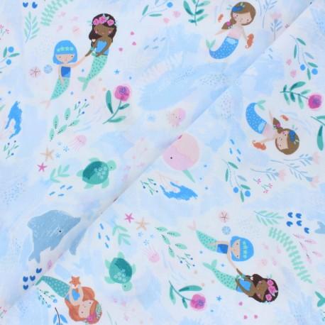Tissu Coton Dear Stella You, Me and the Sea - Mermaids x 10cm