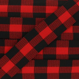 40 mm Checked Elastic Ribbon - red x 50cm