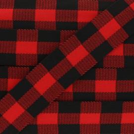 Ruban Élastique Carreaux 40 mm - Rouge x 50cm