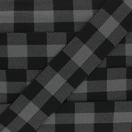 40 mm Checked Elastic Ribbon - grey x 50cm