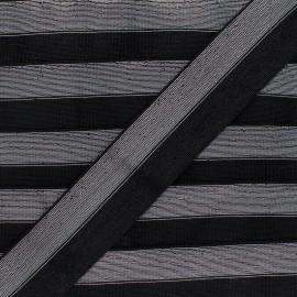 40 mm bicolor Lurex Elastic - Black/Silver Party x 1m
