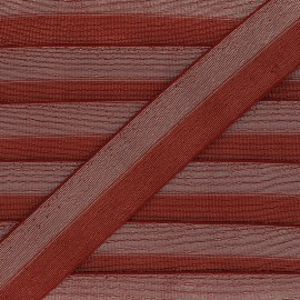 40 mm bicolor Lurex Elastic - Rust-red/Silver Party x 1m