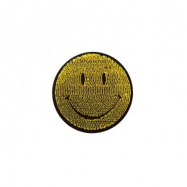 Iron-on patch - yellow Happy