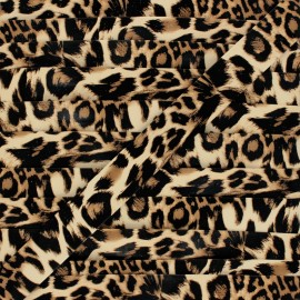 Faux Leather Bias Binding - brown Leopard x 1m
