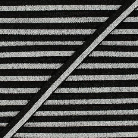 Bicolor Lurex Elastic - Black/Silver Glam Night x 1m