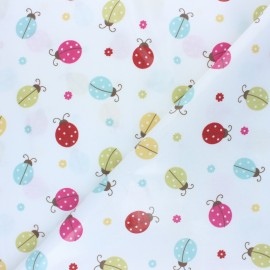 Coated cotton fabric - white Fryett's Ladybird x 10cm