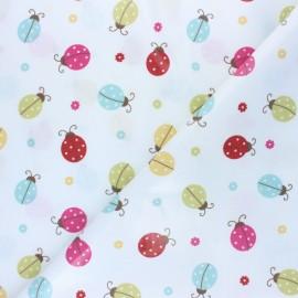 Tissu coton enduit Fryett's Ladybird - blanc x 10cm
