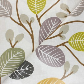 Coated cotton fabric - beige Fryett's Leaves x 10cm