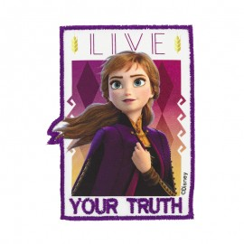 "Rectangular-shaped iron-on patch ""Frozen"" - white 'Live your truth'"