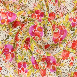 ♥ Coupon 30 cm X 135 cm ♥ AGF Rayon fabric - 365 Fifth Avenue - Manhattan's Foliage
