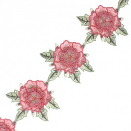 95mm Embroidered guipure - pink Charline x 50cm