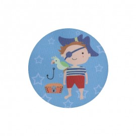 Iron-On Patches for Elbow/Knee - blue Little Pirate (pair)