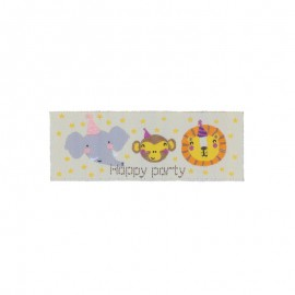 "Childish Iron-On Patch - yellow ""Happy Party"""