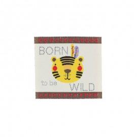 "Childish Iron-On Patch - beige ""Born to be Wild"""