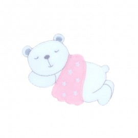 Baby Iron-On Patch - pink sleeping teddy bear
