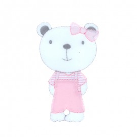 Baby Iron-On Patch - pink chic teddy bear